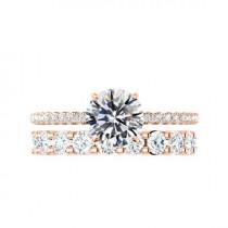 wedding photo - 2 Carat Round Moissanite & Diamond Hidden Halo Engagement Ring with 3mm Diamond Eternity Band 14k Rose Gold, Moissanite Bridal Set