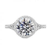 wedding photo - 5 Carat Round Moissanite & Diamond Halo Split Shank Engagement Ring 14k White Gold, 11mm Moissanite Engagement Ring, Raven Fine Jewelers