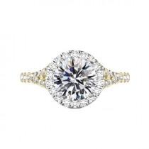 wedding photo - 3 Carat Round Moissanite & Diamond Halo Split Shank Engagement Ring 14k Two Tone Gold, 9mm Moissanite Engagement Ring, Raven Fine Jewelers