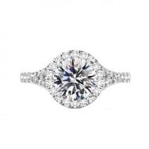 wedding photo - 3 Carat Round Moissanite & Diamond Halo Split Shank Engagement Ring 14k White Gold, 9mm Moissanite Engagement Ring, Raven Fine Jewelers