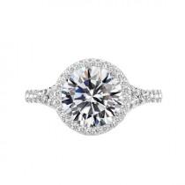 wedding photo - 4 Carat Round Moissanite & Diamond Halo Split Shank Engagement Ring 14k White Gold, 10mm Moissanite Engagement Ring, Raven Fine Jewelers