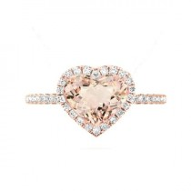 wedding photo - 3 Carat Heart Morganite & Diamond Halo Cathedral Engagement Ring 14k Rose Gold, Morganite Engagement Rings, Raven Fine Jewelers