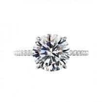 wedding photo - 5 Carat Round Moissanite & Diamond Hidden Halo Cathedral Engagement Ring 14k White Gold, 11mm Moissanite Engagement Ring, Raven Jewelers