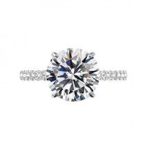 wedding photo - 5 Carat Round Moissanite, Diamond Hidden Halo & 2mm Diamond Pave Cathedral Engagement Ring 14k White Gold, 11mm Moissanite Engagement Ring