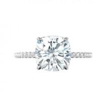 wedding photo - 5 Carat Cushion Forever One Moissanite & Diamond Hidden Halo Cathedral Engagement Ring 14k White Gold, 10mm Moissanite Engagement Ring