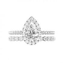 wedding photo - 3.50 ct Pear Supernova Moissanite, Diamond Halo Engagement Ring & Floating Diamond Band, 12x8mm Moissanite Bridal Set, Raven Fine Jewelers