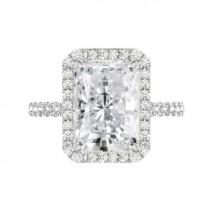 wedding photo - 7 Carat Radiant Crushed Ice Moissanite & Diamond Halo Wide Band Engagement Ring, 12x10mm Moissanite Engagement Ring, Raven Fine Jewelers