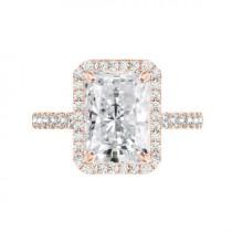 wedding photo - 5 Carat Radiant Crushed Ice Moissanite & Diamond Halo Engagement Ring, 11x9mm Moissanite Engagement Ring, Raven Fine Jewelers