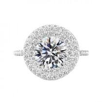 wedding photo - 6 Carat Round Moissanite & Diamond Double Halo Engagement Ring 14k White Gold, 12mm Moissanite Engagement Ring, Raven Fine Jewelers