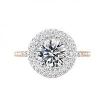 wedding photo - 4 Carat Round Moissanite & Diamond Double Halo Engagement Ring 14k White and Rose Gold, 10mm Moissanite Engagement Ring, Raven Fine Jewelers