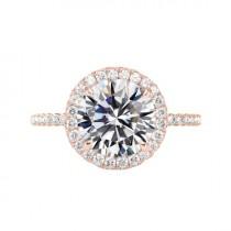 wedding photo - 5 Carat Round Moissanite & Diamond Halo Engagement Ring 14k Rose Gold 11mm, Moissanite Engagement Ring, Handmade Rings