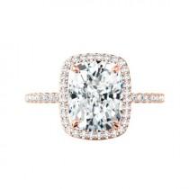 wedding photo - 5 Carat Elongated Cushion Moissanite & Diamond Halo Engagement Ring 14k Rose Gold 11x9mm, Moissanite Engagement Ring, Handmade Rings