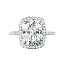 wedding photo - 6.50 Carat Elongated Cushion Moissanite & Diamond Halo Engagement Ring 12x10mm, Moissanite Engagement Ring, Handmade Rings