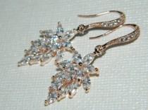 wedding photo - Rose Gold Cubic Zirconia Earrings, Leaf Crystal Bridal Earrings, Flower Leaf Sparkly Earrings, Cluster Rose Gold Earrings, Bridal Jewelry