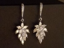 wedding photo - Cubic Zirconia Leaf Earrings, Wedding Crystal Bridal Earrings, Floral Cluster Silver Earrings, Sparkly Chandelier Earrings, Leaf CZ Jewelry