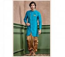 wedding photo - Turquoise Blue Silk Kurta Set for men / shervani for men / kurta set / Sherwani / ethnic wear / Groom kurta / Groom sherwani