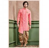 wedding photo - Peach Color Silk Kurta With Stand Collar for men / shervani for men / kurta set / Sherwani / ethnic wear / Groom kurta / Groom sherwani