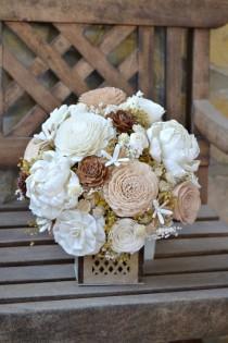 wedding photo - Rustic Woodland Wedding Bouquet, Sola Flowers, Dried flower bouquet, Ivory Wood Bride Bouquet, Wooden Flowers, Alternative Bride Bouquet.