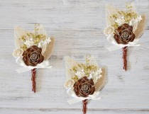 wedding photo - Pine Cone Boutonniere, Southwestern Wedding Boutonniere, Desert Wedding, Bohemian Bouttonhole, Groom Lapel Pin, Dried Flowers and Cedar Pine