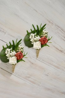 wedding photo - Groomsman Boutonniere Wedding, Sola Flower, White Deep Red Buttonhole, Groom Lapel, Preserved Eucalyptus, Rustic Roses Boutonniere.
