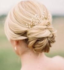 wedding photo - Set of 3  Bridal hair pin Gold Pearl Hair Pin Gold hair pin Branch hair pin Baby's Breath Hair Pieces Pearl Hair Pins Beaded Hair pins