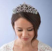 wedding photo - Rhinestone Wedding Crown, Royal Wedding Tiara, Princess Bridal Crown, Bridal Hair Accessory, Vintage Bridal Tiara, Bridal Headpiece ~TI-3284