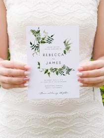 wedding photo - Greenery Wedding Invitation Template Fern Leaves Printable Wedding Invitation DIY Templett PDF Instant Download Editable Rustic Wedding 02