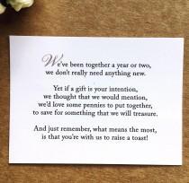 wedding photo - Wedding Invitation Poem for money honeymoon poem card gift information insert