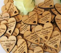 wedding photo - Save The Date Wooden Heart Magnets - Rustic Wedding- Wedding Magnet-  Personalised Wedding stationary- Wedding Invite-Cutomised