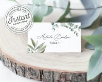 wedding photo - Boho Wreath Printable Wedding Place Cards with Eucalyptus Greenery (Flat and Tent Folded) • INSTANT DOWNLOAD • Editable Template #023