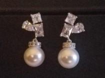 wedding photo - Pearl Bridal Earrings, Wedding White Pearl Cubic Zirconia Earrings, Swarovski 10mm Pearl Silver Earrings, Bridal Pearl Jewelry, Prom Earring