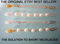 wedding photo - THE ORIGINAL ETSY BEST SELLER!  PEARL AND RHINESTONE NECKLACE EXTENDER WITH FISH HOOK CLASP