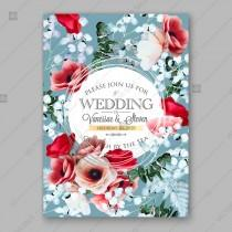 wedding photo -  Pink peony, magent ranunculus, red anemone rose, eucalyptus floral wedding invitation vector card template decoration bouquet