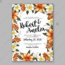 wedding photo -  Orange peony wedding invitation template