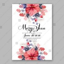 wedding photo -  Red Hibiscus wedding invitation card printable template with blue greenery eucalyptus magenta flower vector download