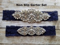 wedding photo - Sale -Wedding Garter and Toss Garter-Crystal Rhinestone - Navy Blue Garter Set - Style G37000CR