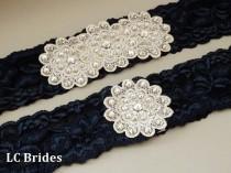 wedding photo - Navy Blue Swarovski Crystal Bridal Wedding Garter Set, Lace Bridal Garter Set, Wedding Garter Blue, Bridal Garter Set Blue