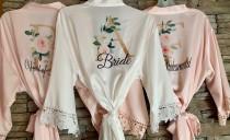 wedding photo - Customization INCLUDED, Bridesmaid Gift, Satin Bridesmaids Robes, Floral Bridesmaid Robe, Bridal Robe, Bridesmaid Proposal, Bride Robe