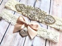 wedding photo - Wedding garter set, Non Slip Garters, Bridal Garter Set, Vintage rhinestones and pearls