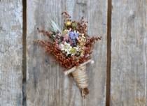 wedding photo - COUNTRY GIRL Boutonniere - Rustic Wedding - Groom Boutonniere - Groomsmen Boutonniere - Corsage - Fall Wedding - Small Simple Boutonniere