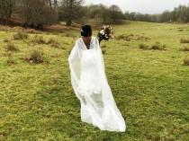 wedding photo - Ivory Bridal Veil cape drape for wedding dress gown with brooch and bridal backdrop back chain back drape shoulder bridal gown cape veil