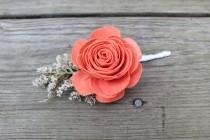 wedding photo - Wood Rose Caspia Boutonniere