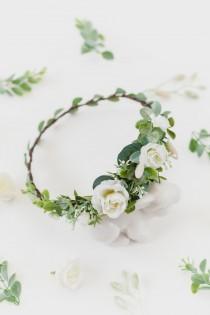 wedding photo - Fall Headpiece Flower Crown Greenery Hair Accessory Wedding Hair Piece Woodland Hair Crown Rustic Wreath Bridal Floral Crown Wedding