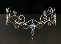 wedding photo - Fae Elvish Wedding Circlet in Sterling Silver, Renaissance Circlet, Artisan Sterling Silver Bridal Tiara with Faceted Gemstone, Handmade