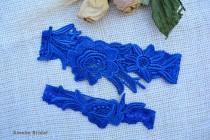 wedding photo - Blue Wedding Garter, Lace Flower Garter, Lace Garte Set, Blue Bridal Garter, Royal Blue Garter, Bridal Garter, Somethig Blue, Toss Garter