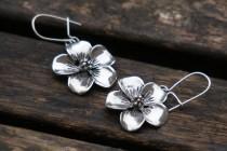 wedding photo - Silver Flower Earrings • Sterling Silver Dangle Earrings • Nature Earrings • Flower Jewelry
