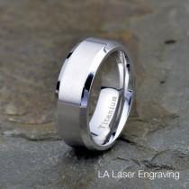wedding photo - Mens Titanium Wedding Band, brushed Polished Beveled Edge 8mm , His, Hers,Titanium Anniversary Rings, Personalized Bands, Custom Engraved