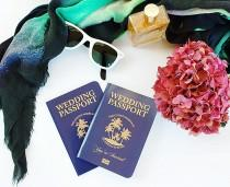 wedding photo - Palm Tree Tropical Passport Invitation for Bali Wedding