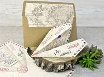 wedding photo - Paper Airplane Wedding Invite, World Map Envelope Liner, Travel Wedding Theme Wedding Card, Wedding Abroad Wedding invite