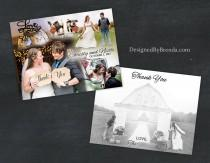 wedding photo - Blended Photo Collage Wedding Thank You Postcards, with image on back - Free Shipping Worldwide - Artistic and Unique, Custom Designed